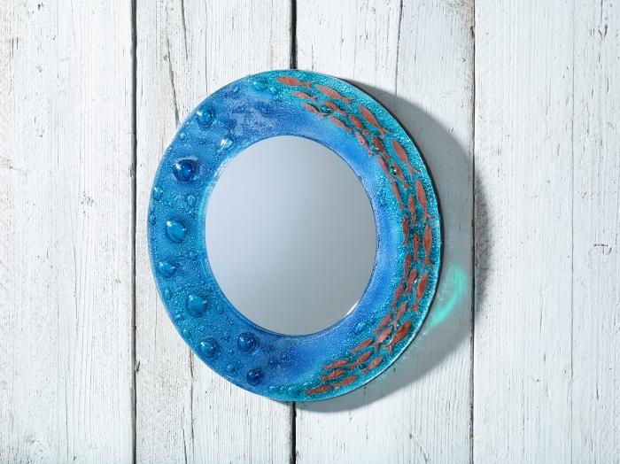 Polperro 38cm Round Mirror Blue_web