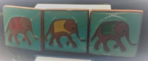 Heffalump Ceramic Tiles by Anne Marie Hopkins, £8 each or £21 for 3